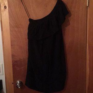 Black silk one shoulder Madewell ruffle dress